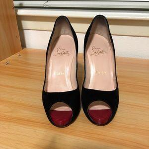 Authentic black peep toe Christian Louboutin Heels